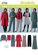 4789 Simplicity Pattern: Misses' & Plus Size Dress, Trousers, Long Line Jacket, Jacket and Waistcoat